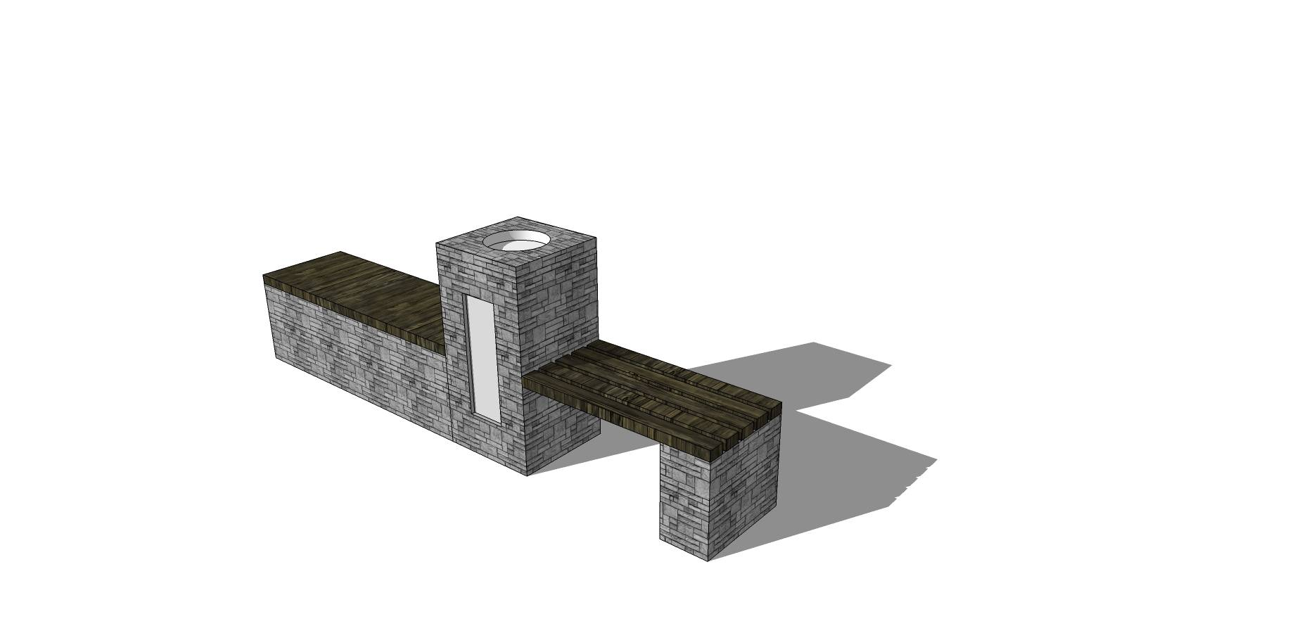 步行街种植池坐凳SU模型素材