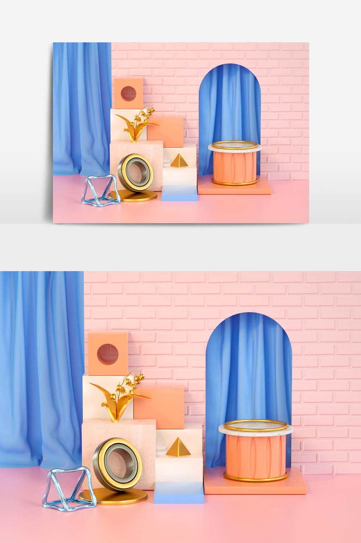 粉色创意展示模型