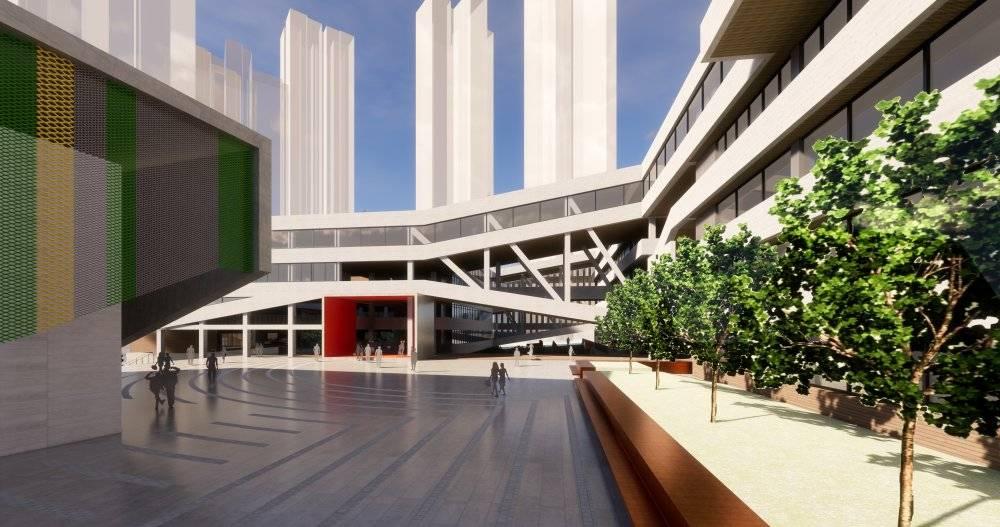 现代主义风格5层外国语小学校园
