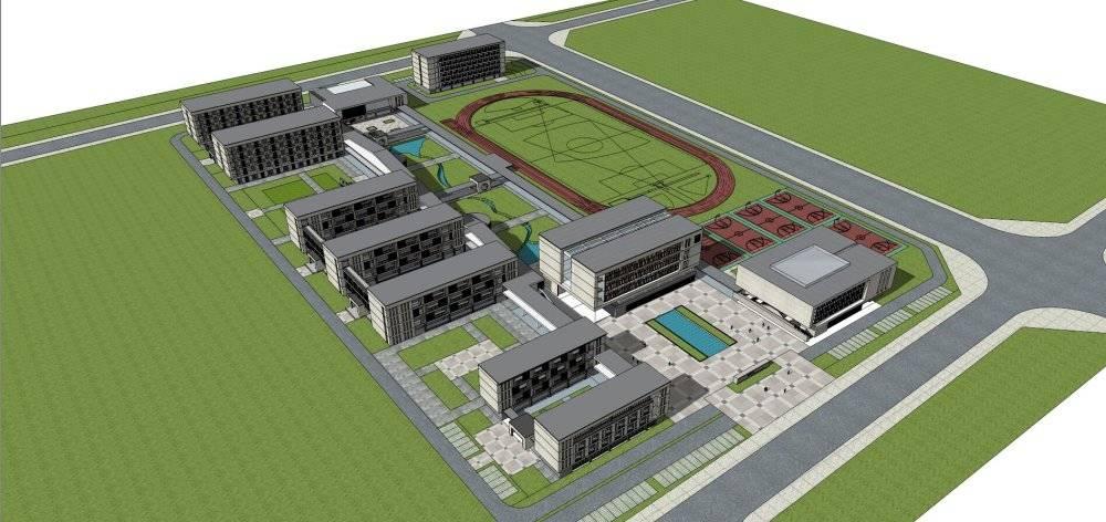 现代主义风格4层学校规划设计