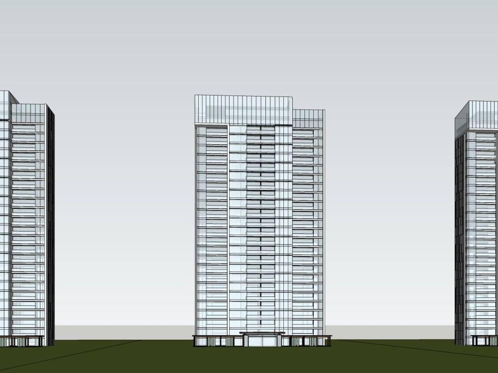 现代主义风格28层商用住宅小区