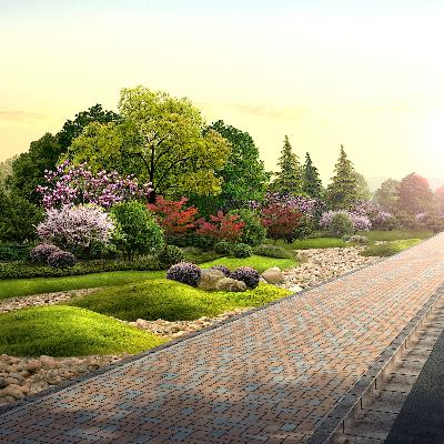 道路绿化景观效果PSD分层