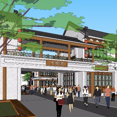 现代中式酒文化商业街建筑