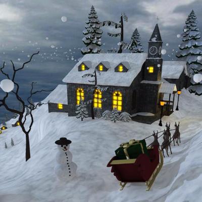 圣诞节大型场景搭建3d模型