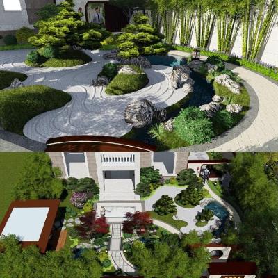 新中式别墅庭院景观SU模型.