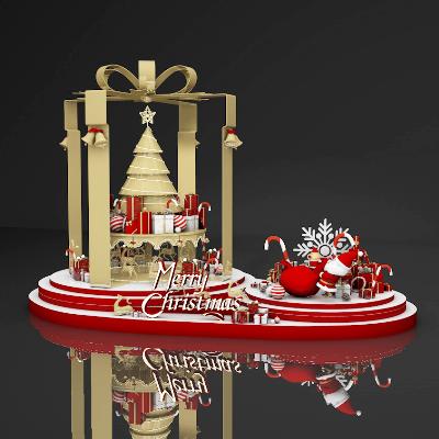 金色圣诞节美陈模型设计