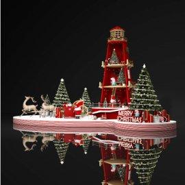 圣诞节创意宝塔马车美陈设计