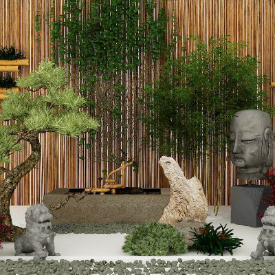 中式景观竹子庭院假山园艺模型