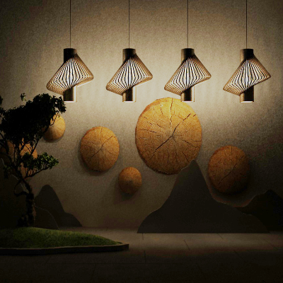 新中式夜晚吊灯挂件绿植组合模型