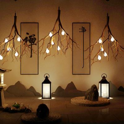 新中式树枝吊灯石头摆件夜景模型
