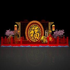 巨型福字主题商场新年展台舞台美陈设计装饰