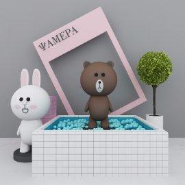 网红布朗熊美陈拍照布置