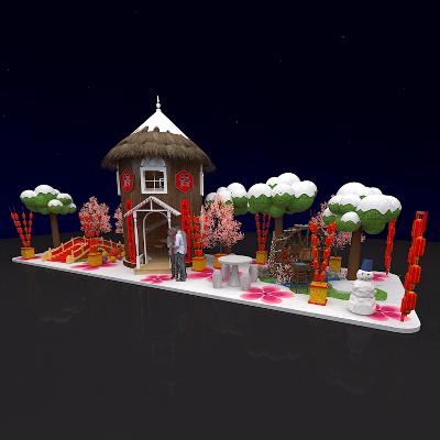 谷堆房屋雪人冬小桥人家农家春节主题美陈设计
