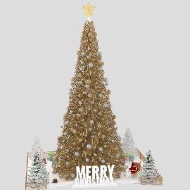 商场金色大圣诞树造型美陈设计模型