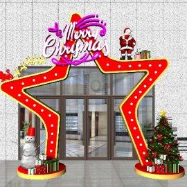 商场门头圣诞星造型美陈设计