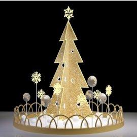金色圆形多面圣诞树美陈设计