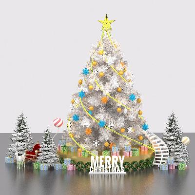 精致堆雪花圣诞树楼梯白色美陈设计