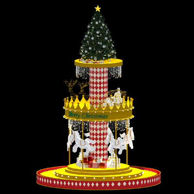 旋转木马造型圣诞树装置美陈设计模型