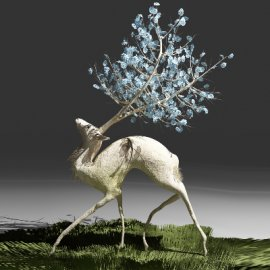精致梦幻圣诞麋鹿造型美陈设计