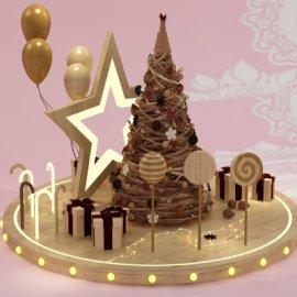 木头元素圣诞树气球礼盒糖果圣诞星美陈设计模型