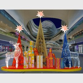 蓝金红线条圣诞鹿圣诞树中庭美陈设计