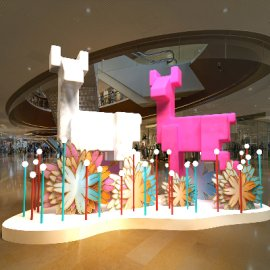 超萌可爱白色粉色圣诞鹿DP点商场美陈设计