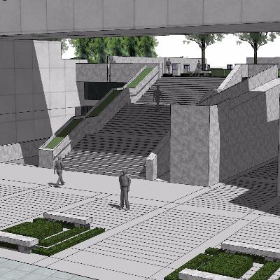 现代展馆与广场景观设计sketchup模型