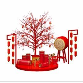 猪年美陈素材 红包发财树大鼓鞭炮灯笼礼物节日春节美陈DP设计