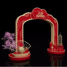 2019福满猪年新年商场入口拱门门头春节美陈设计