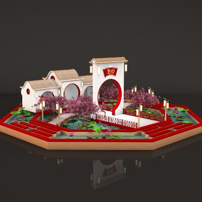 八卦池塘美陈dp素材美陈设计模型3D效果图