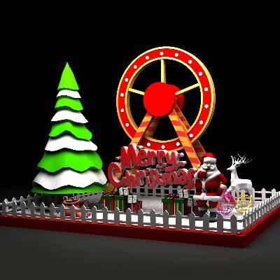 圣诞节摩天轮造型商场中庭装饰美陈