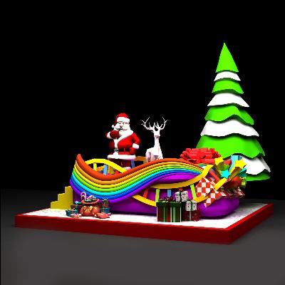 圣诞节花车美陈模型商场中庭装饰