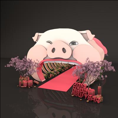 2019猪年卡通猪头门头美陈dp点位设计3D效果图素材