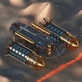 C4D金属飞船模型