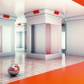 C4D室内空间球体模型