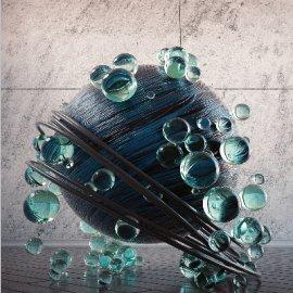 C4D炫酷透明玻璃金属球体模型
