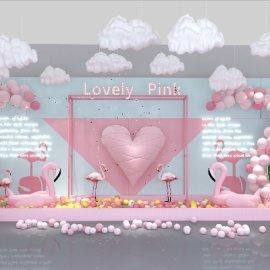 心形粉色少女系情人节网红打卡美陈dp点位