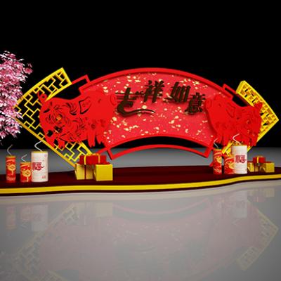 2019猪年春节美陈装饰布景堆头模型