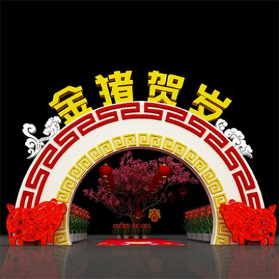 2019春节美陈装饰门头布景