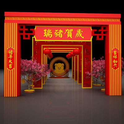 2019猪年春节商场门头装饰美陈布景