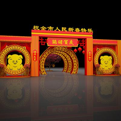 2019春节美陈布景户外门头装饰