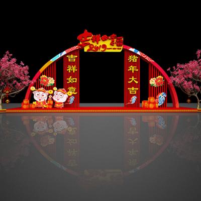 2019猪年春节商场门头装饰