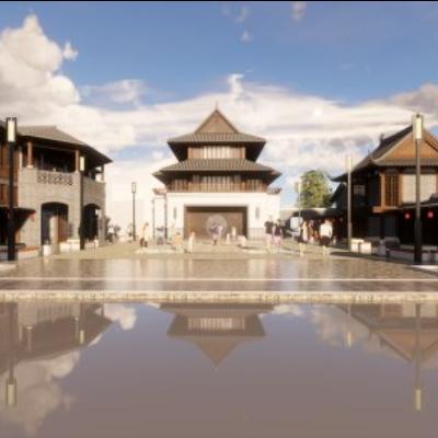 百家宴中式风情商业街模型