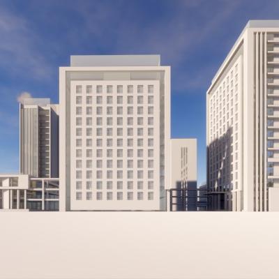 现代主义风格12层医院