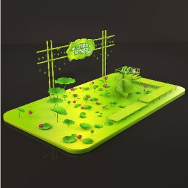 端午节绿色清新商场中庭节日美陈设计场景布置模型源文件效果图