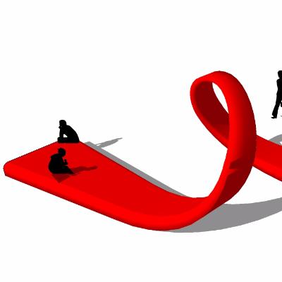 红色飘带造型公园长凳草图大师素材
