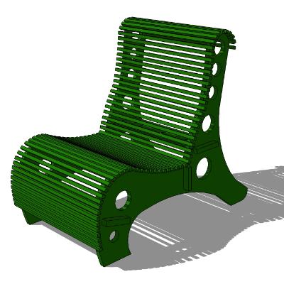 户外绿色铁艺镂空休闲座椅SU模型