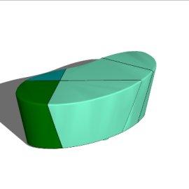 绿色椭圆状商场室内休闲座椅SU模型