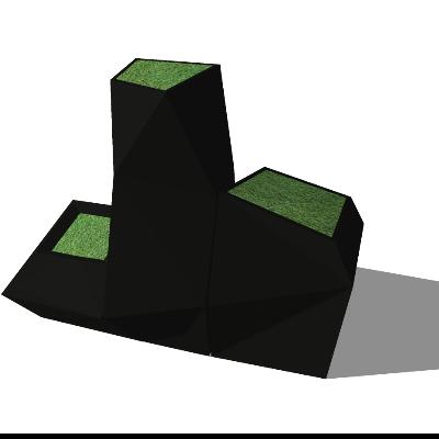 黑色山形景观SU模型