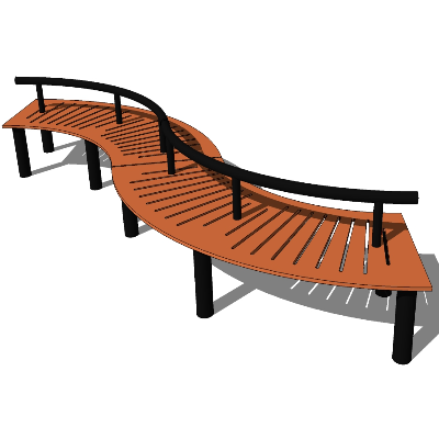 木质镂空曲线形座椅